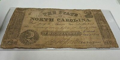 State of North Carolina  $2  1861  over  bank stock  w/ red overprint
