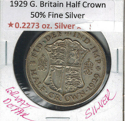 1929 Great Britain Half Crown Silver King George V Great Detail .2272 ASW