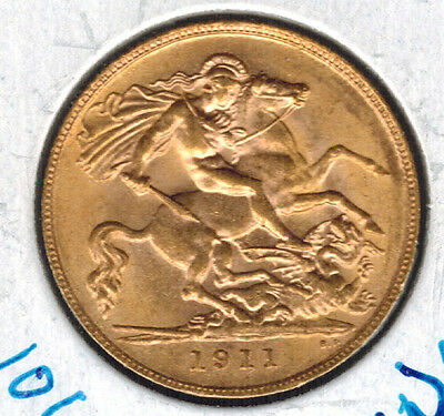 1911 British 1/2 Sovereign Gold .1177 ASW George V 106 Year Old Coin UNC