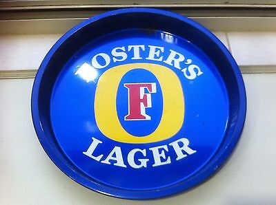 Fosters Lager Beer blue metal round bar drink serving tray.Bar pub.Dalsonware