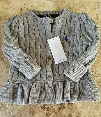 Girl's Gray Ralph Lauren Cable Knit Sweater Size 9 M