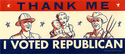 Cool 1950s Eisenhower Era I VOTED REPUBLICAN Auto Window Sticker (4417)