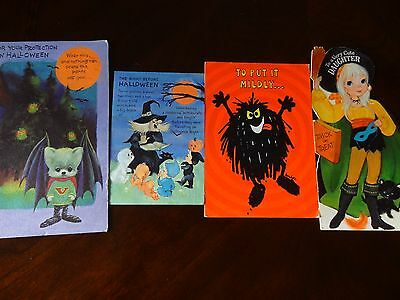 Vintage Halloween Greeting Cards 1969 1970 Set Of 4 Pre-Owned