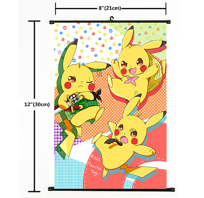 Game Pokemon Go Pikachu Cosplay One Piece Wall Scroll Poster Gift 2271