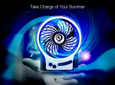Digoo USB Rechargeable Mini Cooling Fan Cooler + Night Light For Desktop Laptop