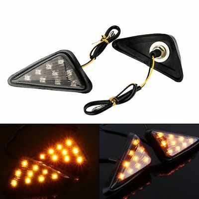 2x Universal Flush Mount LED Triangle Turn Signal Indicator Light For Motorcycle
