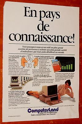 French 1984 Computerland Canadian Retro Ad / Vintage 80S Old School Computers