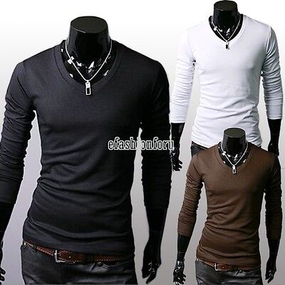 Men Cotton Slim Fit T-Shirt Blouse V-Neck Tee Shirt Basic Long Sleeve Casual