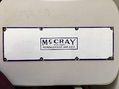 Vintage McCray Refrigerator Company Porcelain Advertising Sign Kendallville, IN