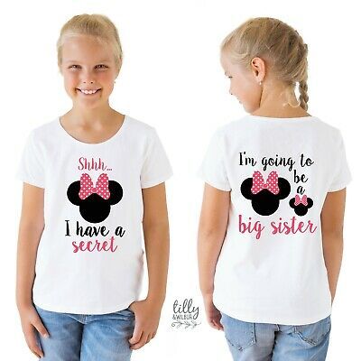 Shhh I have A Secret I'm Going To Be A Big Sister Minnie Mouse Girls T-Shirt
