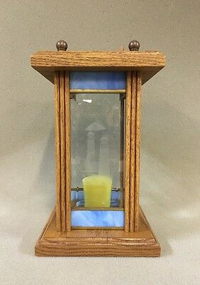 Vintage Candle Holder Lantern Unique Lighthouse Wood with Etched Beveled Glass