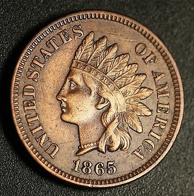 1865 INDIAN HEAD CENT - With LIBERTY & DIAMONDS - XF EF