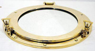 "12"" Marine Boat Porthole-Round Window Glass Brass Shiny Ship Porth Mirror"