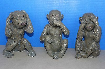 "The three ""See No, Evil"", ""Hear No, Evil"", ""Speak No, Evil"" Monkey Figurines."