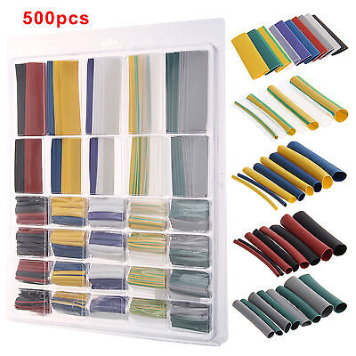 500Pcs Heat Shrink Tube Wire Wrap Car Electrical Cable Insulation Tubing 10 Size