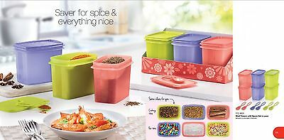 New Tupperware Shelf savers with spoon set (6) 840ml rectangular container
