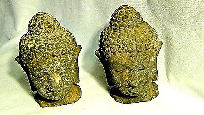 Pair Antique Chinese Small Hard Stone Carved Buddha Heads
