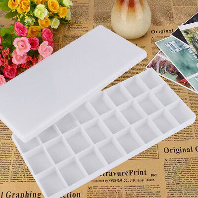 Plastic 24 Compartments Watercolor Paint Painting Tray Mixing Palette White