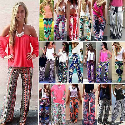 Women Yoga Boho Hippie Stretch Flare Loose Palazzo Pants Floral Long Trousers AU