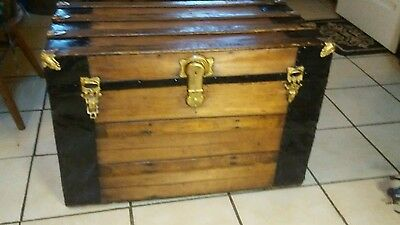 1800's Antique Flat Top Steamer Trunk Chest