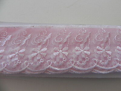 New Card of Silky embroidered Lace -  Pink 6cm
