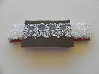 New Card of Silky embroidered Lace - White 4.5cm