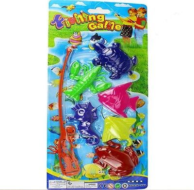 7pcs Set Magnetic Fishing Toy Game Kids with Rod 6 3D Fish Baby Bath Toys Fun