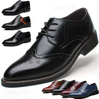 Men's Leather Shoes Dress Formal Brogue wing tip lace up Wedding Suit Oxfords