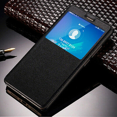 Luxury PU Leather View Window Flip Stand Hard Case Cover Skin For Samsung Galaxy