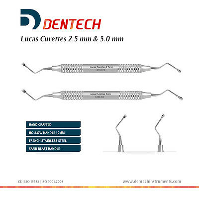 Lucas Bone Curettes 2.5Mm & 3Mm, Cyst Removal Restorative Dental Instruments Ce