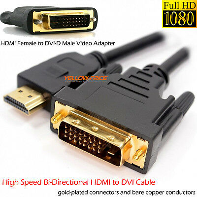 ULTRA HD 4K 1080p (Full HD) Video Audio DVI-D (Dual Link) 24+1 HDMI to DVI Cable