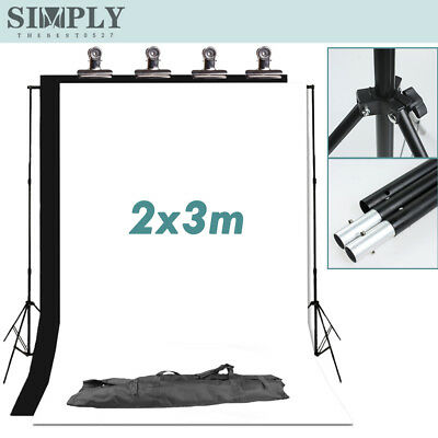 Photo Studio Lighting Backdrop Video Black White Background Support Stand Kit