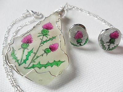 Spiky Scottish thistle hand painted to order sea glass necklace stud earring set