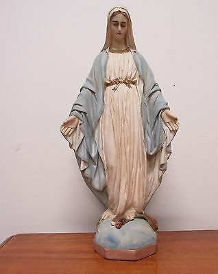 Antique 1930's Handpainted Chalkware Our Lady Virgin Mary Statue