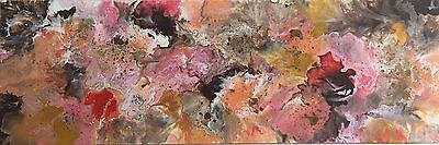 Original abstract canvas painting modern long wall art - Brown Red Orange Pink