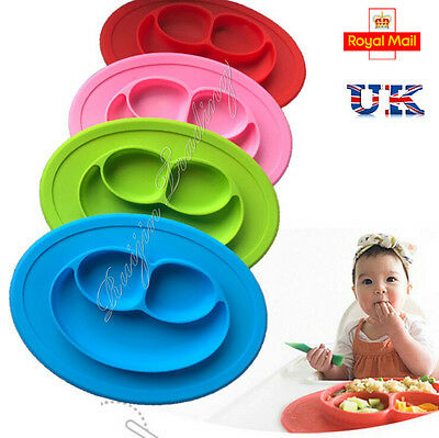 One-piece Silicone Mat Baby Kids Suction Table Food Tray Placemat Plate Bowl UK