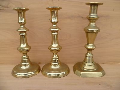 Vintage Old Large Size Brass Ware Candle Sticks Lot 'x3' Old Brass (E660)