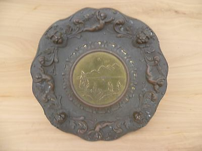 Vintage Old Brass Italy Plate, Platter (E632)