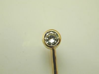 Diamond tie pin 18 carat gold 0.12 carats Boodle & Dunthorne dated 1990