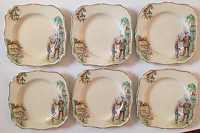 Set Of 6 J&G Meakin England Plates Sunshine 561073 David Copperfield