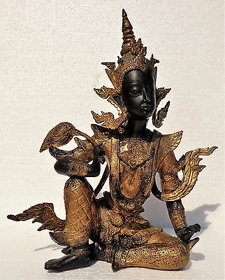 THAILAND: Old and fine Thai gilt bronze deity