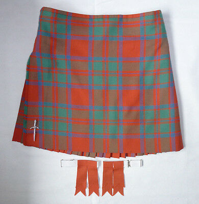 "Scottish 'Ancient MacIntosh' Tartan 100% Wool 8 Yard Kilt, Pin & Flashes 38""/40"""