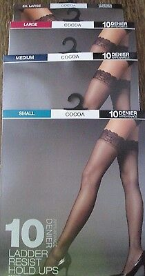 Ex M&s Lace Top Ladder Resist Hold Ups Hold Up Stockings 10 Denier Cocoa