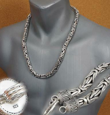 8mm HEAVY BALI BYZANTINE 925 STERLING SILVER MENS NECKLACE KING CHAIN 22 28 30""