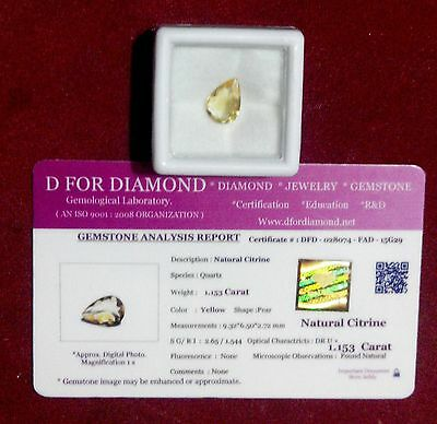 1.153 Ct Natural Citrine Yellow Pear Cut Loose Gemstone with Lab Certificate