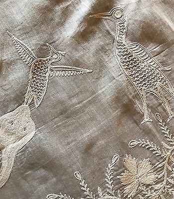 Lovely Embroidered Panel Table Cloth Birds Snakes & Flowers Chinese