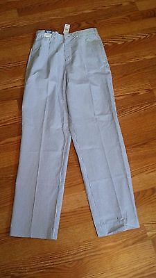 Boys Talbots Kids Blue White Seersucker Striped Pants Size 16 New With Tag