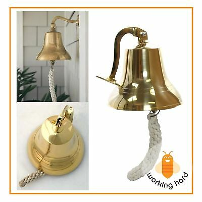 "BRASS SHIP BELL 6"" Vintage Solid Nautical Bells Home Garden Boat Decor Marine"