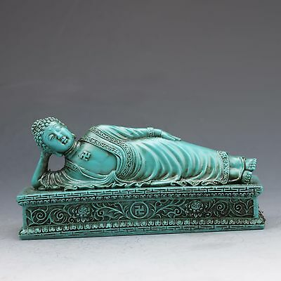 Chinese Turquoise Hand-carved  Sleeping Buddha Statue G1012