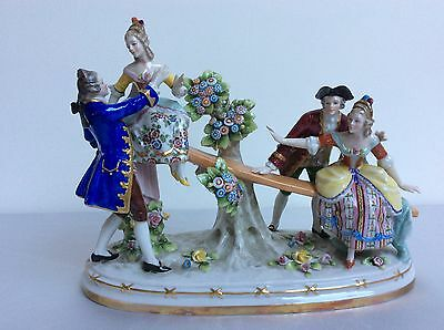 Lovely dresden sitzendorf see saw porcelain figurine figure